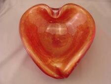 RED Heart Shaped MURANO CIGAR ASHTRAY Controlled Bubble Gold Inclusions