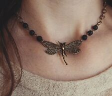 Dragonfly necklace choker black lava stone volcanic rock bronze chain