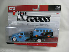 Maisto All Stars Elite Transport Flatbed & Volkswagen Van Samba VW Diecast 1:64