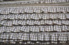 Rüschenband Vichy elastisch 1 Meter Rüschen Rüsche Borte Nähen beige sand
