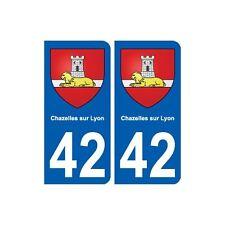42 Chazelles-sur-Lyon blason ville autocollant plaque stickers droits