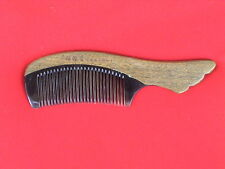 """5.53"""" SUPERIOR QUALITY OX HORN/GREEN SANDAL WOOD COMB W/HANDLE - FOR ALL HAIR!"""