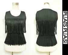 2009AW PLEATS PLEASE ISSEY MIYAKE Blouse Tank Top With Total Fringe Black Size 3