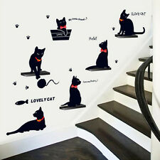 Cat Play Home Room Decor Removable Decal Vinyl Mural Art Wall Sticker