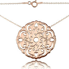 Open Work Lace Rose Gold Over Sterling Silver Necklace. 45cm Chain Included.