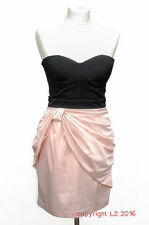 L216/14 Lipsy London Sexy Corset Black Salmon Mini Dress, size 8/10