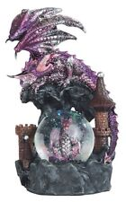"8"" Purple Dragon & Hatching Egg Snow Globe Fantasy Decor Statue Figure Figurine"