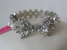 Betsey Johnson Silver Tone Crystal and Faux Pearl Bow Hinged Bangle Bracelet