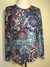 Chico's 1 Long Sleeve Sweater Polyester And Spandex Blues And Purples