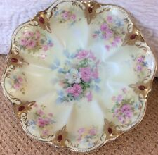 GORGEOUS RS Prussia Lemon Yellow With Pink Flowers And Red Painted Gems On Rim!!