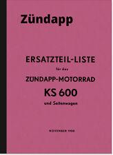 Zündapp KS 600 Seitenwagen Ersatzteilliste Ersatzteilkatalog Teilekatalog KS600