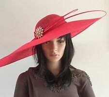 NEW POPPY RED X LARGE HATINATOR ASCOT OCCASION HAT WEDDINGS MOTHER OF THE BRIDE