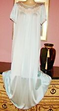 VTG SHADOWLINE MINT GREEN SILKY SMOOTH VERY SOFT NYLON NIGHTGOWN BUST TO 40""
