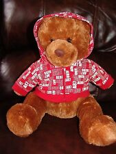 Aeropostale Brown Teddy Bear w/ Red Hoodie Jacket  Plush Doll 15""
