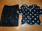 Vtg SEQUINED Black With White POLKA DOTS 2 Pc Suit TOP & SKIRT Trophy OUTFIT M
