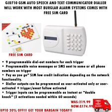 GJD710 GSM AUTO SPEECH & TEXT DIALLER + FREE SIM FOR MOST BURGLAR ALARM SYSTEMS