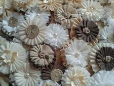 20 ANTIQUE Fabric flowers. wedding.Hessian, pearls, lace. Vintage. Shabby-Chic
