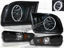 FORD MUSTANG 05-09 HEADLIGHTS WITH SUPER WHITE CCFL HALO BLK & BUMPER LIGHTS