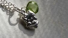 Sterling silver hello kitty Peridot charm pendant