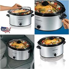 Crock Pot Slow Cooker 5 Qt Roast Portable Silver Manual Oval Stoneware Lid NEW