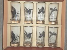 Vintage 8 Boxed Wild Game Bird Glass Tumblers by Federal Glass Co