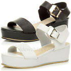 WOMENS LADIES MID WEDGE FLATFORM PLATFORM METAL TRIM BUCKLE SANDALS SHOES SIZE