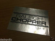 RALEIGH CHOPPER MK 1 SEAT PLATE DECAL - SHINY SILVER - CHOPPER SEAT STICKER