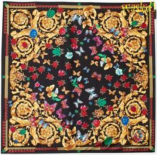 "VERSACE black Ladybugs & Butterflies BAROQUE silk 35""-square scarf NWT Authentic"