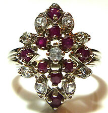 DESIGNER WHS 14K WHITE GOLD RUBY DIAMOND COCKTAIL CLUSTER RING SIZE 6.25 THICK