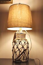 Large Glass Wooden and Rope Nautical Refillable Table Lamp Bottle Style Light