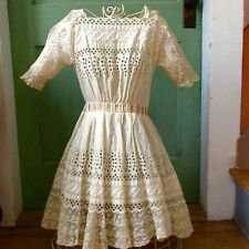 Antique Victorian Edwardian Girl's Lace Ruffled Dress