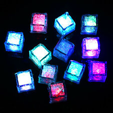 12x Party Favors Rainbow Neon Wedding Blinking Rgb Led Light-up Ice Cubes