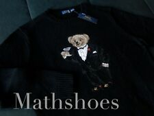 Polo Ralph Lauren Martini Bear Sweater NEW wool knit tuxedo vtg preppy rl flag L