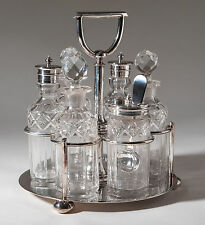 Antique Walker & Hall Silver Plated Six Bottle Cruet Set and Stand c1880