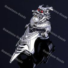 New Vintage Silvery Dragon Pearl Armor Knuckle Full Finger Ring Punk Gothic 1PC