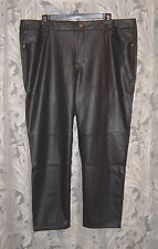 DANA BUCHMAN BLACK FAUX LEATHER PLEATHER STRAIGHT LEG PANTS SLACKS~22W~2X~NEW