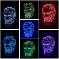 IRON MAN LED Desk 3D Light USB Touch Illusion 7 Color Change Night Lamps