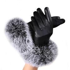 2017 Luxury Women leather Gloves Autumn Winter Warm Rabbit Fur gloves Mittens