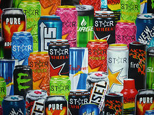 CLEARANCE FQ ENERGY DRINKS CANS FABRIC KITSCH FOOD KITCHEN