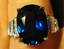 Large 12 x 10mm BLUE Sapphire .19 CT DIAMONDS 14k White Gold Ring. Size 6 1/2