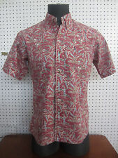 KAHALA Hawaiian Button-Front Short Sleeve Shirt Size M Plant Fish