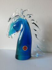 MURANO ITALY LARGE GLASS HORSE HEAD ART FIGURE BUST CRYSTAL SCULPTURE BLUE GREEN