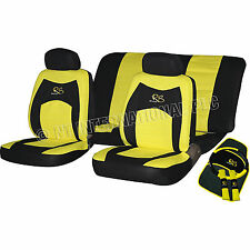 13Pc Car Seat Cover Yellow Glove Belt Pads Wheel Cushions Interior Kit 81398C