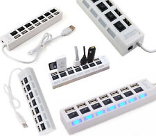 HIGH Speed 7 PORT LED USB Hub with Individual ON/OFF Switch Laptop Mobile PC WT
