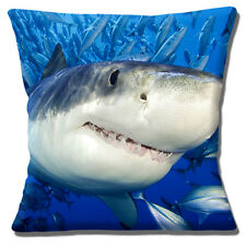 "SHARK FISH CLOSE UP PHOTO PRINT 'JAWS' BLUE GREY WHITE 16"" Pillow Cushion Cover"