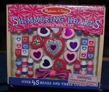 New Factory Sealed Melissa & Doug Shimmering Hearts Wooden Bead Set