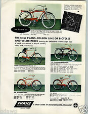 1955 PAPER AD 2 Sided COLOR Evans Colson Bicycle Olympic Commander Interceptor