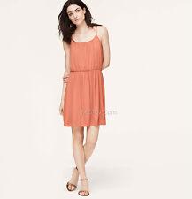 NWT Ann Taylor LOFT SHIRRED SPAGHETTI STRAP Comfy Perfect Soft Summer Dress Sz M