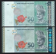 Malaysia RM50 Ringgit New & Old Sign Pair 2pc (2014-2016) P55 - UNC