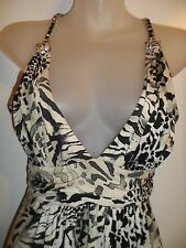 Sky Clothing Brand L Mini Dress Black Creme Leopard Print Rhinestone Club Party